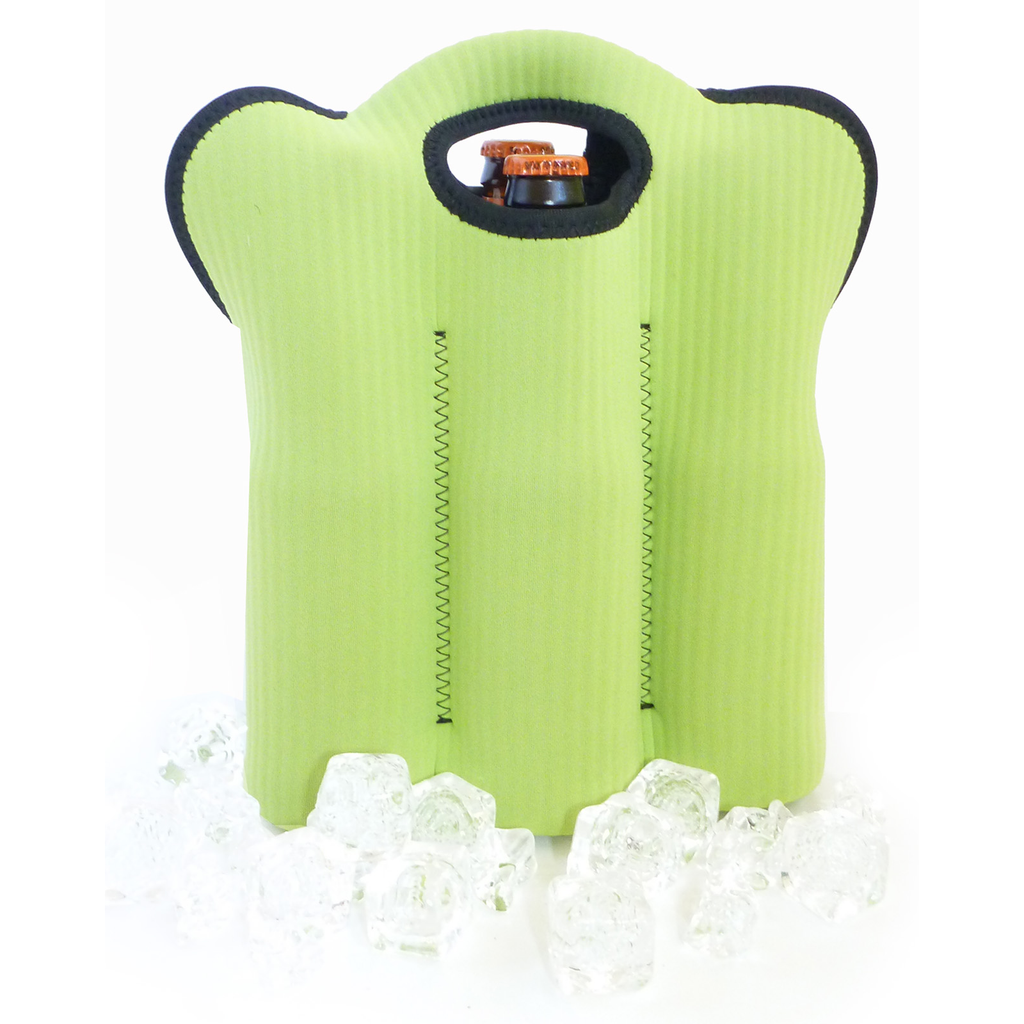 insulated green zip six bottle bag