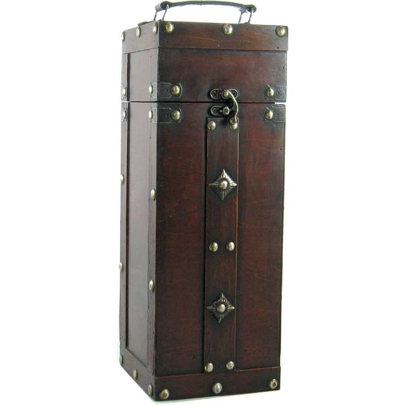 wood  leather midieval single bottle wine box