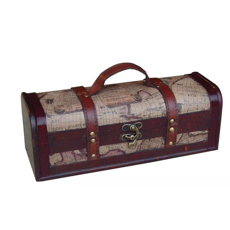 wood  leather nautical single bottle wine box