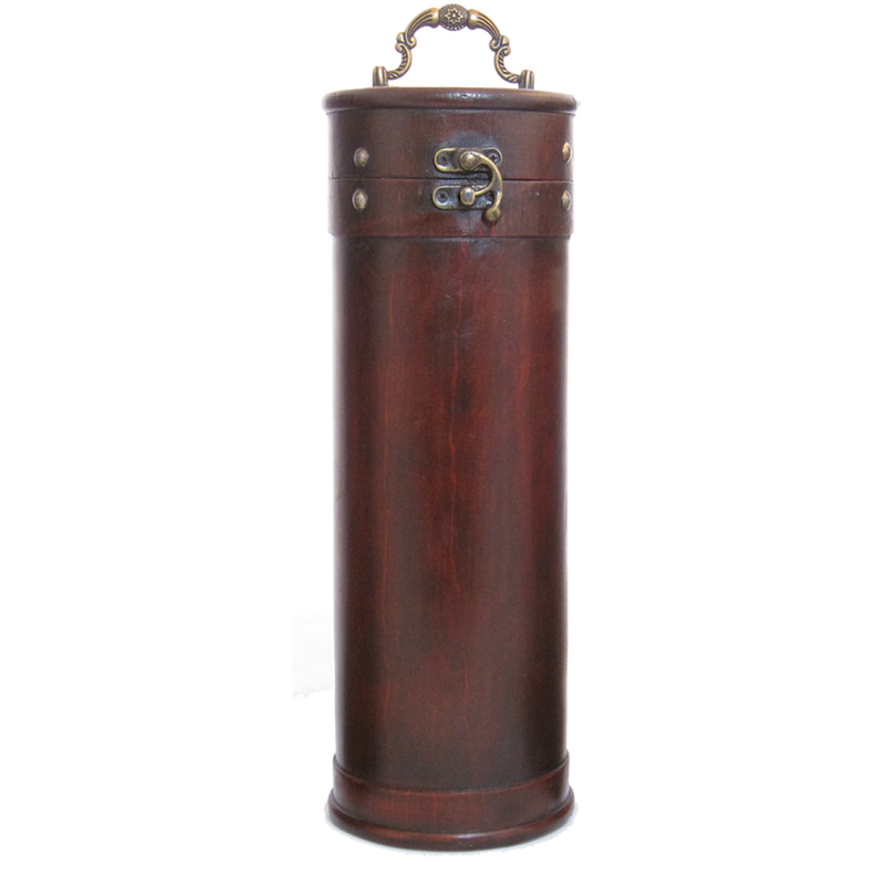 wood  leather tower single bottle wine box