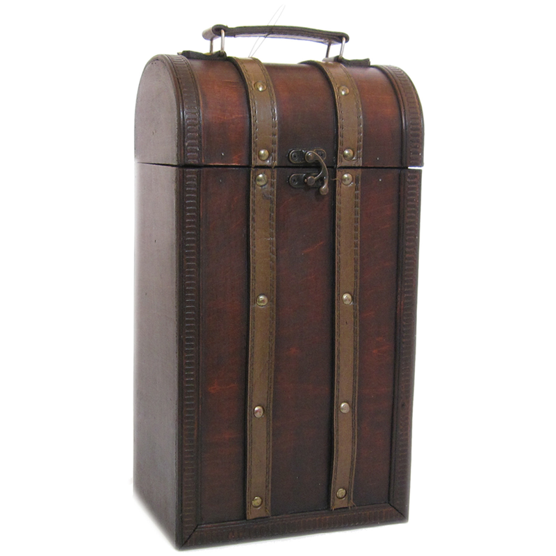 wood  leather treasure double bottle wine box