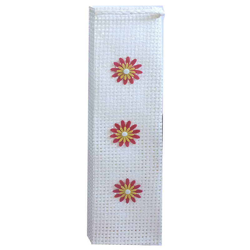 handmade woven paper flowers trio wine bottle bag