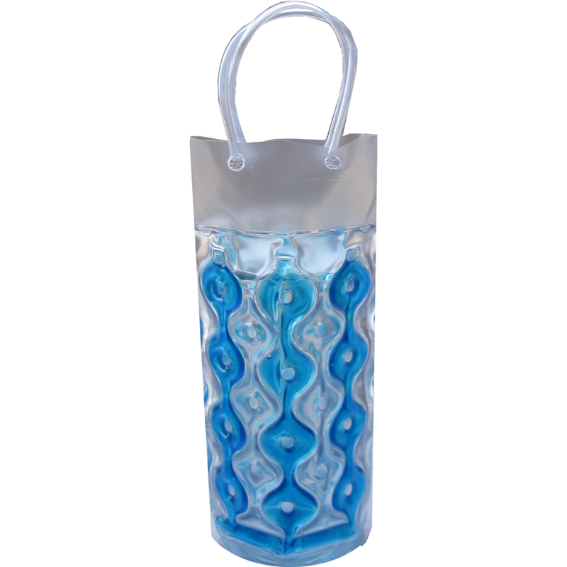 chill it wave cylinder 1c blue clear freezable drink bottle bag