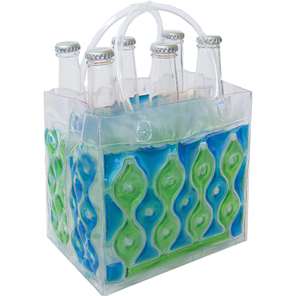 chill it wave freezable blue green six pdrink bottle bag