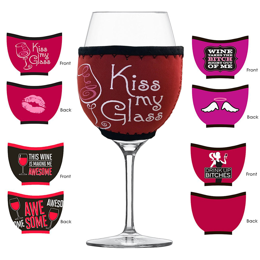 83c56f4f01a Insulated Wine Glass Sleeves - Set of 4 Funny Assorted Styles - Holds Wine  Temperature -
