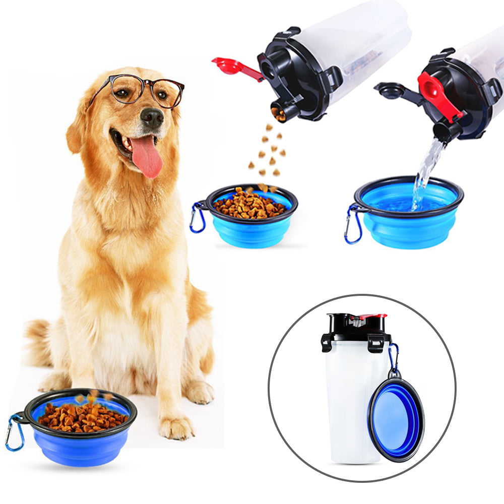 2-In-1 Pet Travel Water & Food Bottle with Companion Cup