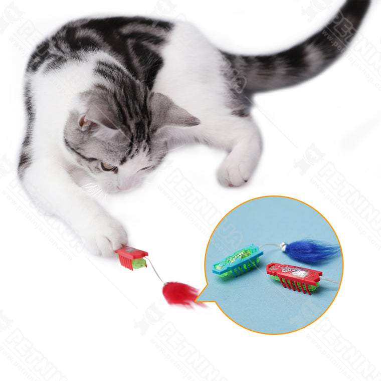 Robotic Bug with Tail Motorized Cat Toys (Red & Blue)