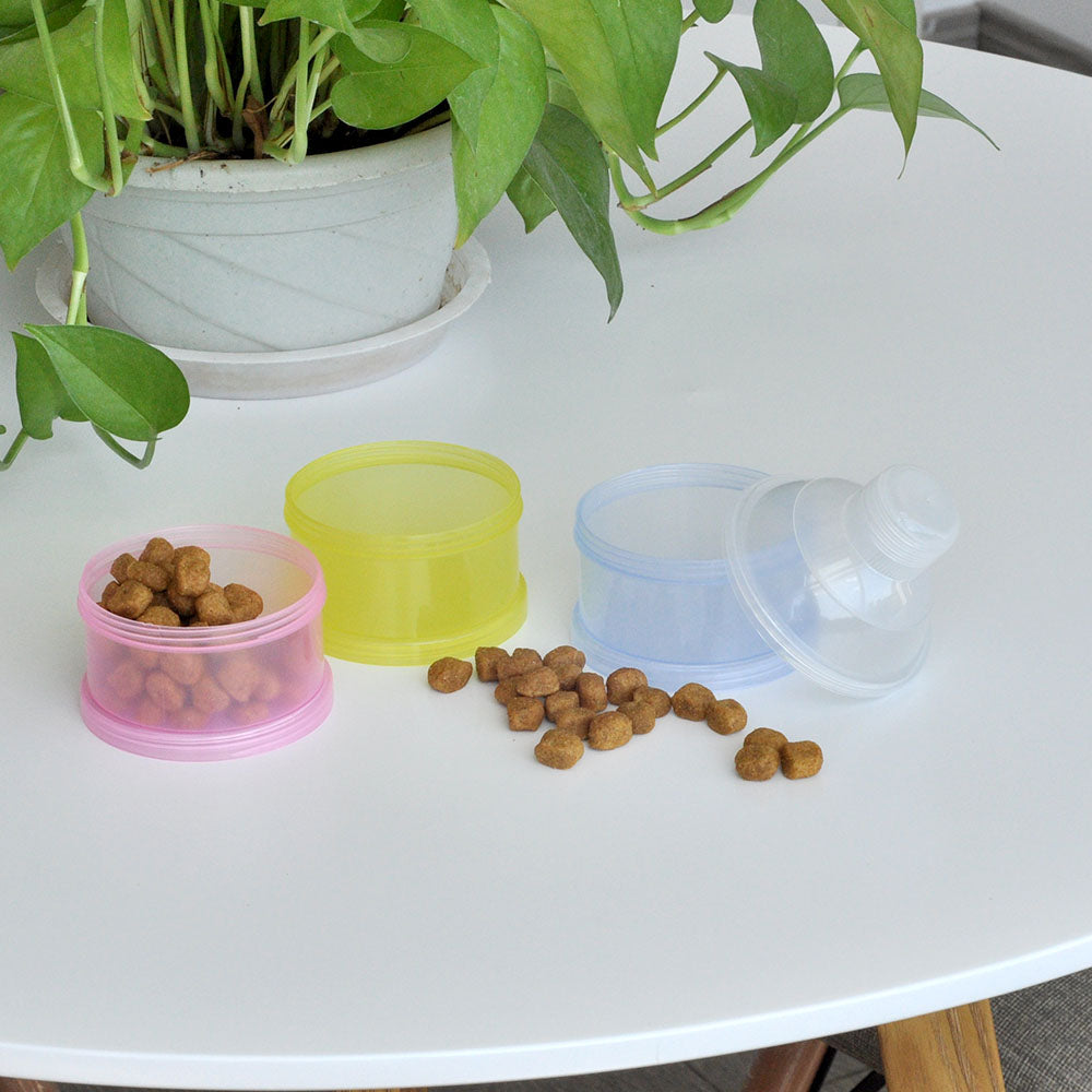 Portable Dog Snack Container - Chambered Design (Three Layers)