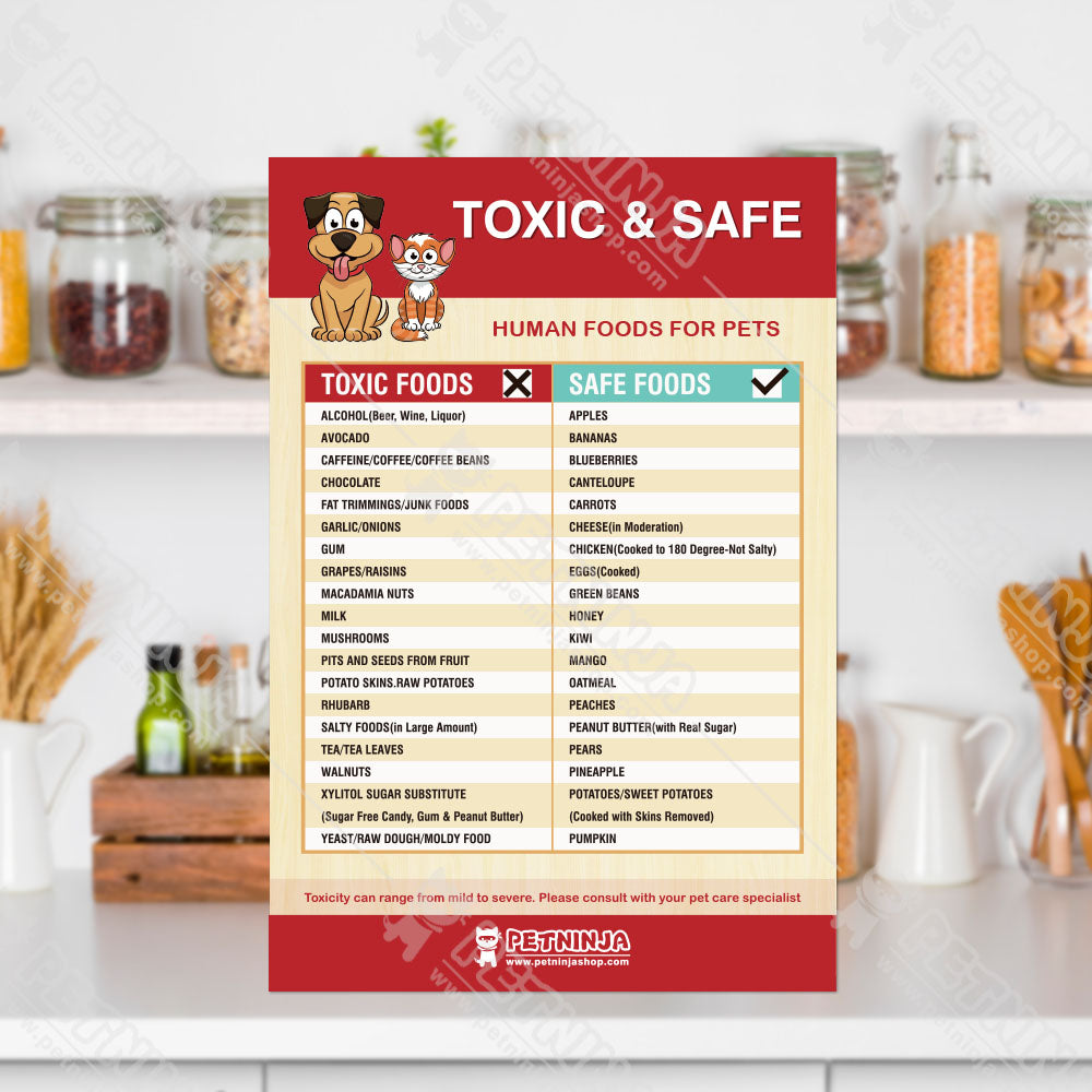 Set of 3 TOXIC & SAFE FOODS, TOXIC PLANTS & TOXIC FOODS Fridge Safety Magnets for Pets Emergency