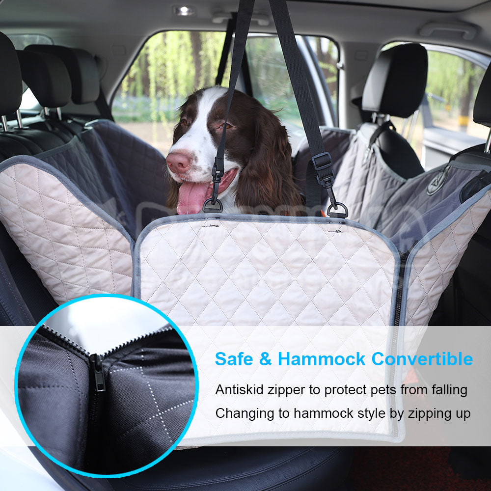 display quilted and outdoors car pet travel rear deluxe dog hammock cfm seat product prod