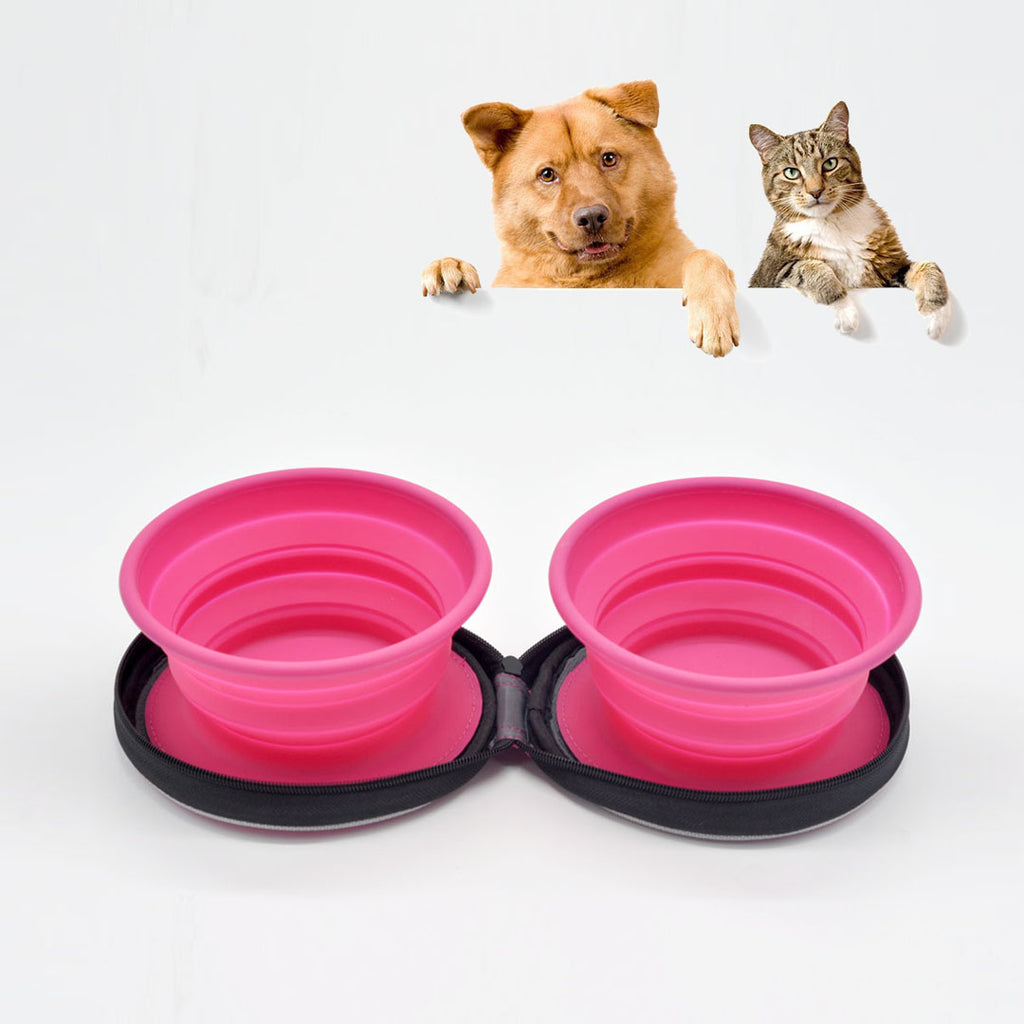 Premium Quality Collapsible Silicone Travel Pet Bowl Duo