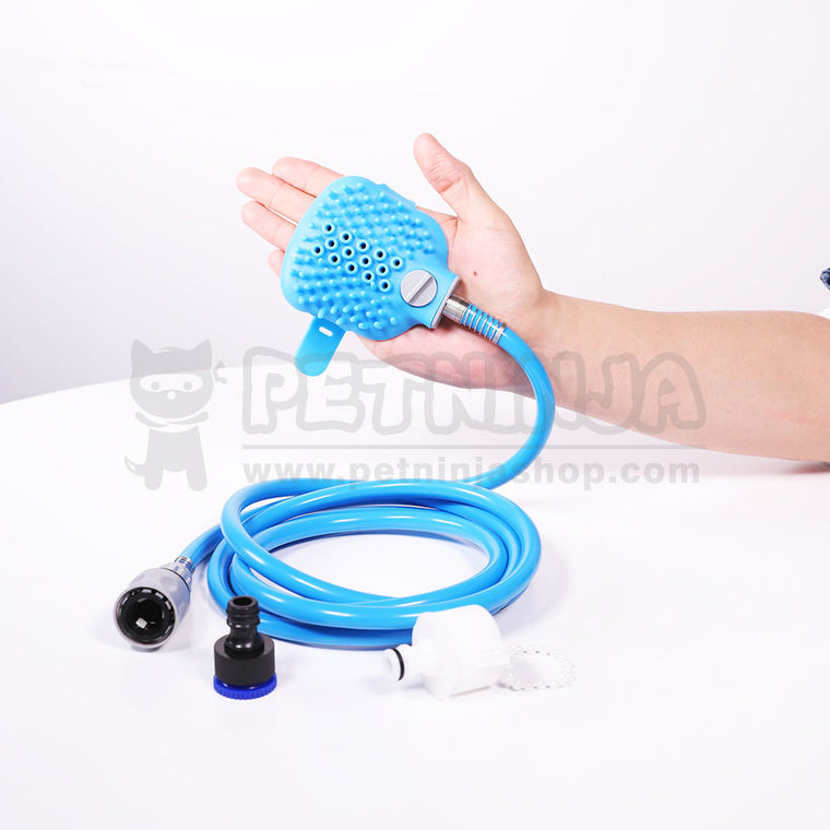 Wearable Combination Sprayer and Scrubber for Dog Bath