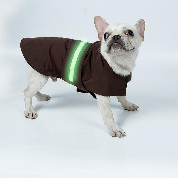 Waterproof Polyester - Lined Dog Raincoat with LED Lights