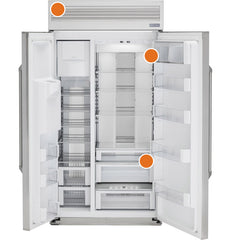 Possible serial/model location(s): The serial plate is located in the lower right side of the fresh-food compartment beneath the climate-control drawer.  A 2nd serial plate is located behind grille panel in the upper left side of the overhead compartment.  The serial plate is located inside the fresh-food compartment, at the top and on the right side.