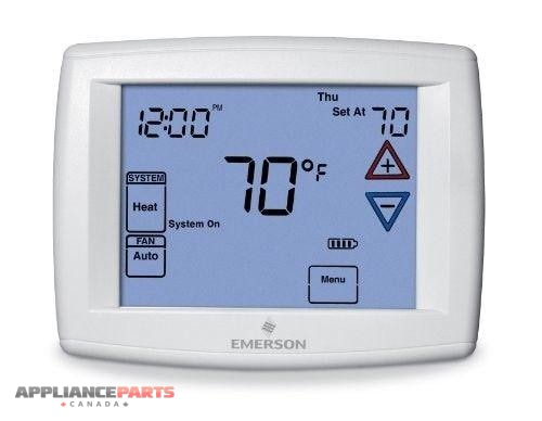 1F95-1277 Emerson White Wall Thermostat Heat/Cool Heat Pump 7,5/1/1 Programmable - Appliance Parts Canada