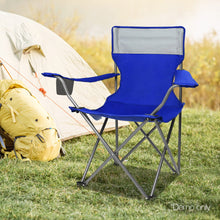 Load image into Gallery viewer, Set of 2 Portable Folding Camping Armchair - Blue - River To Ocean Adventures