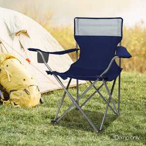 Set of 2 Portable Folding Camping Armchair - Navy - River To Ocean Adventures