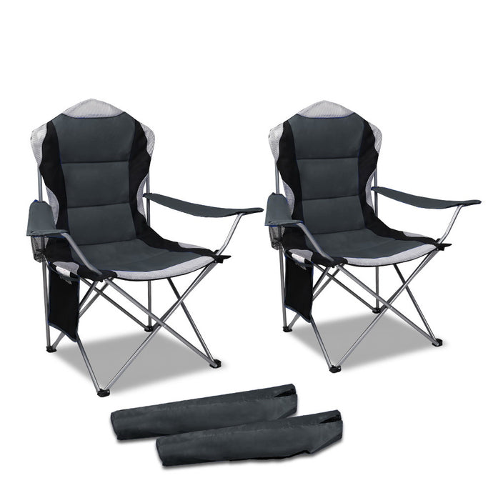 Set of 2 Portable Folding Camping Armchair - Grey - River To Ocean Adventures