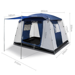Weisshorn 6 Person Dome Camping Tent - Navy and Grey - River To Ocean Adventures