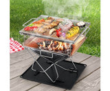 Grillz Portable Stainless Steel Firepit BBQ