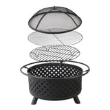 Grillz 30 Inch Portable Outdoor Fire Pit and BBQ - Black - River To Ocean Adventures