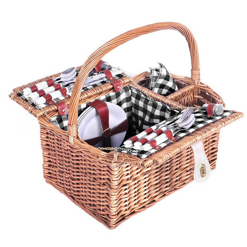 Alfresco Deluxe 4 Person Picnic Basket - Black and White - River To Ocean Adventures
