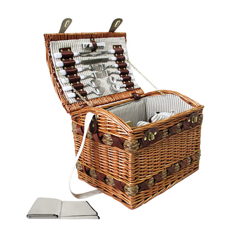 Alfresco Willow 4 Person Picnic Basket - White and Grey - River To Ocean Adventures