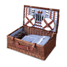 Load image into Gallery viewer, Alfresco Willow 4 Person Picnic Basket - Blue and White - River To Ocean Adventures