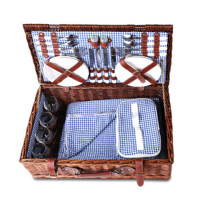 Alfresco Willow 4 Person Picnic Basket - Blue and White - River To Ocean Adventures
