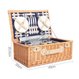 Alfresco Willow 4 Person Picnic Basket - Navy - River To Ocean Adventures