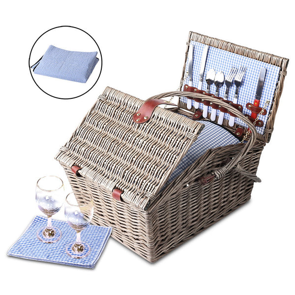 Alfresco 4 Person Picnic Basket - Blue and White - River To Ocean Adventures