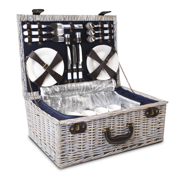 Alfresco 6 Person Wicker Picnic Basket and Cooler Bag- Navy and White - River To Ocean Adventures