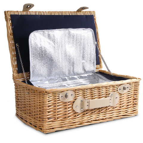 Alfresco 4 Person Cooler Wicker Picnic Basket - Brown - River To Ocean Adventures
