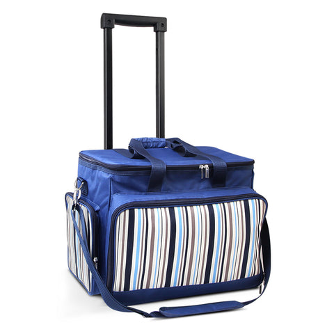 Alfresco 6 Person Picnic Bag Trolley Set - Blue - River To Ocean Adventures