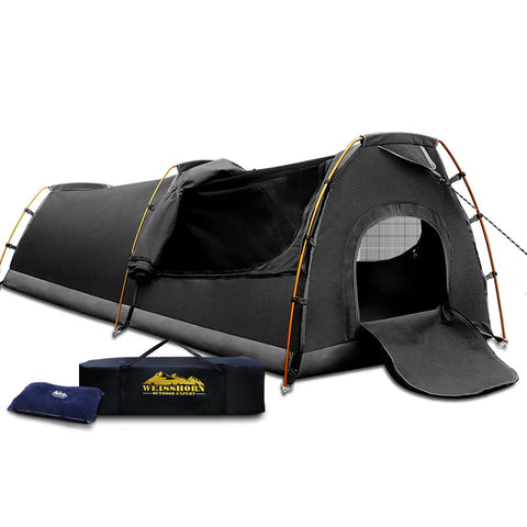 Weisshorn XXL King Single Camping Swag Canvas Tent - Dark Grey