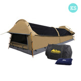 Weisshorn King Single Swag Camping Swag Canvas Tent - Beige