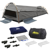 Weisshorn King Single Swag Camping Swag Canvas Tent - Grey - River To Ocean Adventures