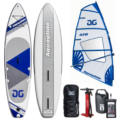 Aquaglide Cascade Inflatable Windsurfing SUP Paddleboard & 4.2 Rig - River To Ocean Adventures