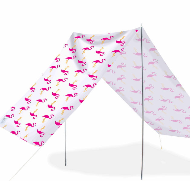 Good Vibes Summer Beach Tent Flamingo 148x370cm - River To Ocean Adventures