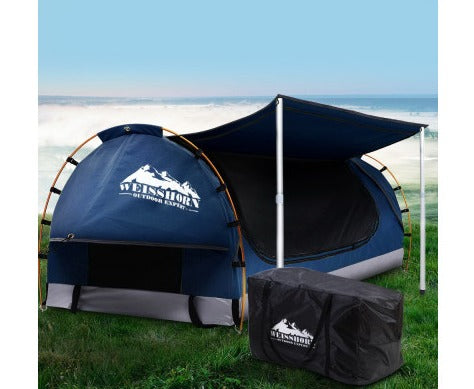 Weisshorn Canvas Double Swag with 7CM Mattress - Dark Blue
