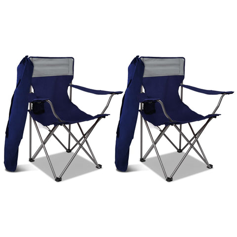 Set of 2 Portable Folding Camping Armchair - Navy