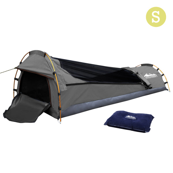 Weisshorn Biker Single Swag Camping Swag Canvas Tent - Grey - River To Ocean Adventures