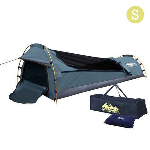 Weisshorn Biker Single Swag Camping Swag Canvas Tent - Navy - River To Ocean Adventures