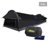 Weisshorn XXL King Single Swag Camping Swag Canvas Tent - Dark Grey