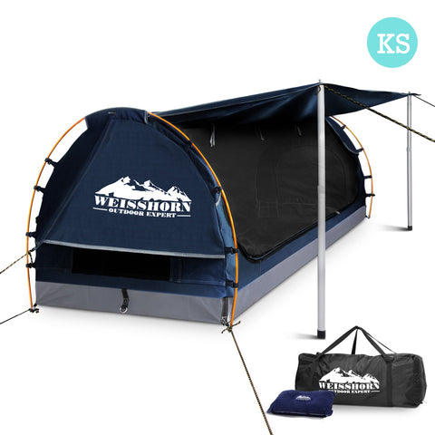Weisshorn King Single Swag Camping Swag Canvas Tent - Dark Blue - River To Ocean Adventures