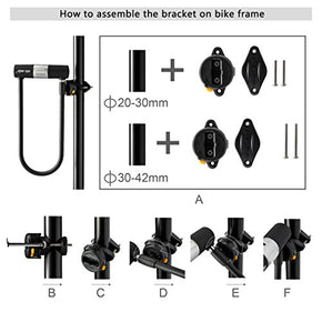 Via Velo Bike U Lock with Strong Cable Heavy Duty Bicycle U Lock Shackle 15mm with 3 Keys and Weatherproof Shock Lock Set, Bike Tire Lock for Road Bike Mountain Bike Electric Bike Folding Bike