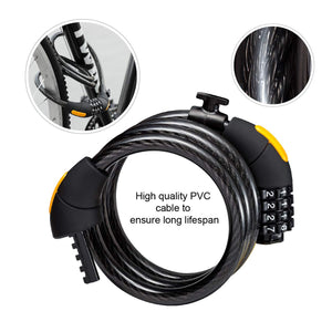 Via Velo Combination Lock With 4-Feet Durable Cable For Bike