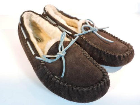 UGG Australia Dakota Brown Women's Suede Leather Moccasin Slipper Sz 5 5296