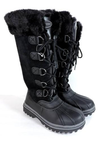 ABOUND 'Lynx' Leather Fur Black Waterproof Boots New Women's Size 6