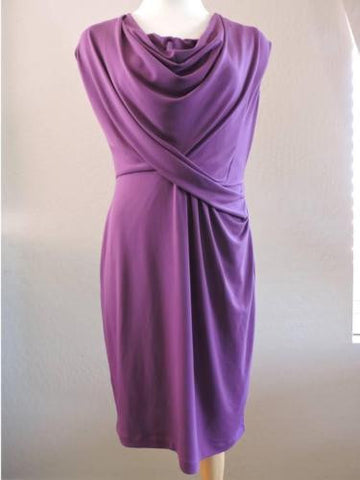 DONNA RICCO New York 4 Dress Jersy Knit Draped Front Collar Purple Berry NEW